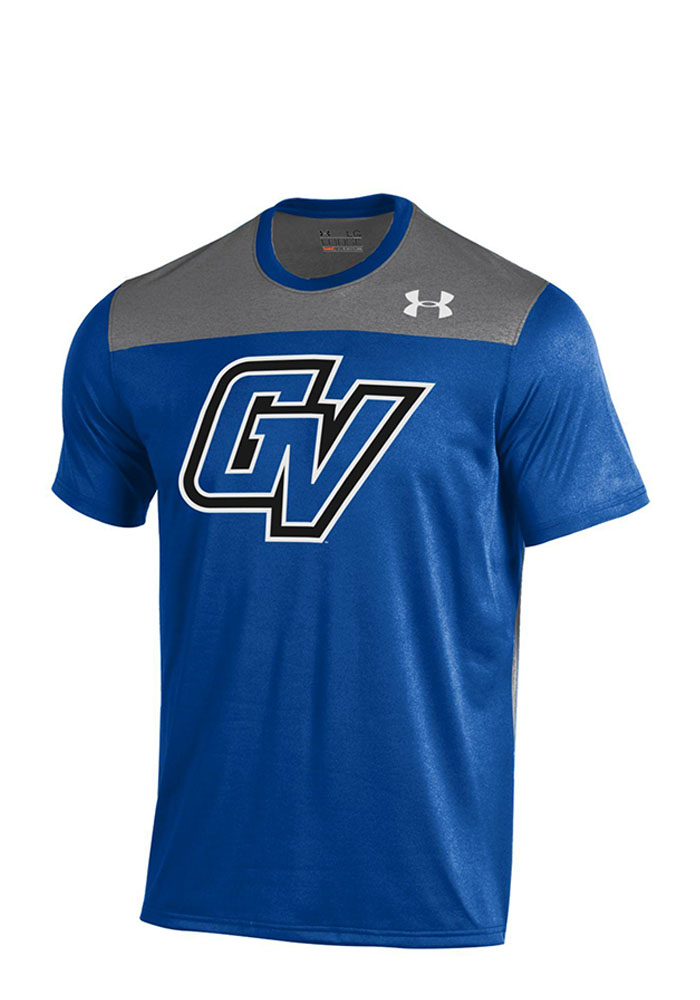 Under Armour Grand Valley State Lakers Mens Blue Foundation Tech T-Shirt, Blue, 100% POLYESTER, Size XL