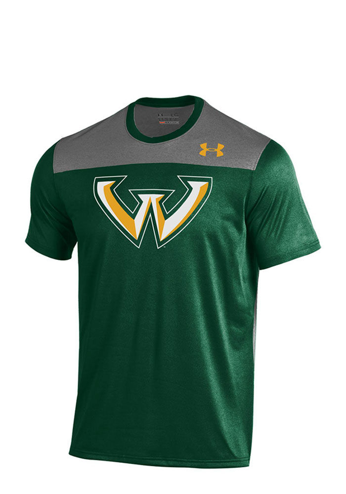 Under Armour Wayne State Warriors Mens Green Foundation Tech T-Shirt, Green, 100% POLYESTER, Size M
