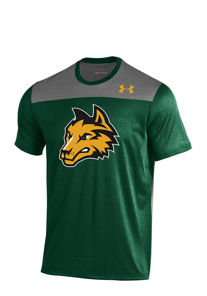 Under Armour Wright State Raiders Mens Green Foundation Tech T-Shirt, Green, 100% POLYESTER, Size M