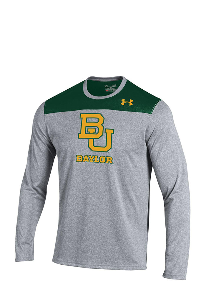 Under Armour Baylor Bears Mens Grey Foundation Tech Long Sleeve T-Shirt, Grey, 100% POLYESTER, Size L