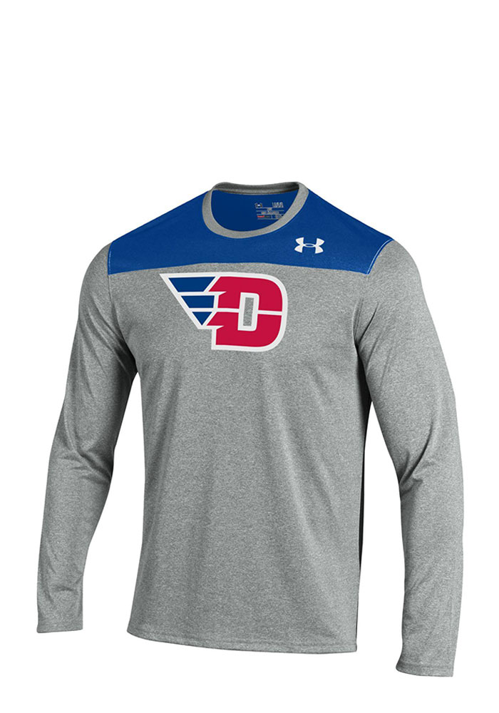 Under Armour Dayton Flyers Mens Grey Foundation Tech Long Sleeve T-Shirt, Grey, 100% POLYESTER, Size L