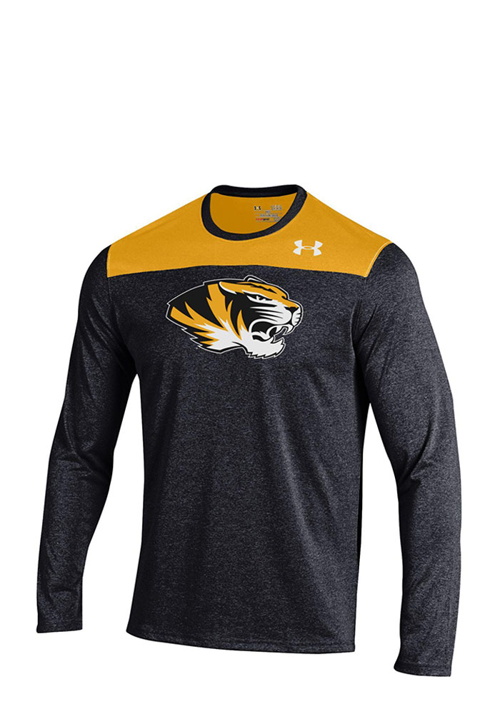 Under Armour Missouri Tigers Mens Black Foundation Tech Long Sleeve T-Shirt, Black, 100% POLYESTER, Size S