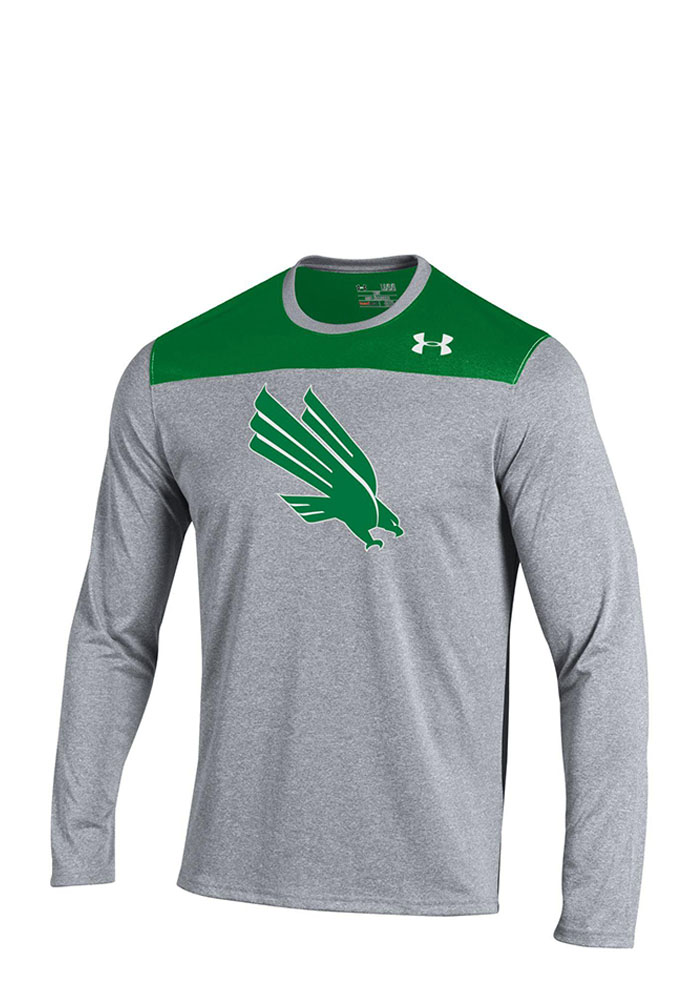 Nike North Texas Mean Green Mens Grey Foundation Tech Long Sleeve T-Shirt, Grey, 100% POLYESTER, Size M