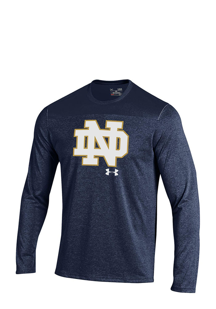Under Armour Notre Dame Fighting Irish Mens Navy Blue Tech Long Sleeve T-Shirt, Navy Blue, 100% POLYESTER, Size L