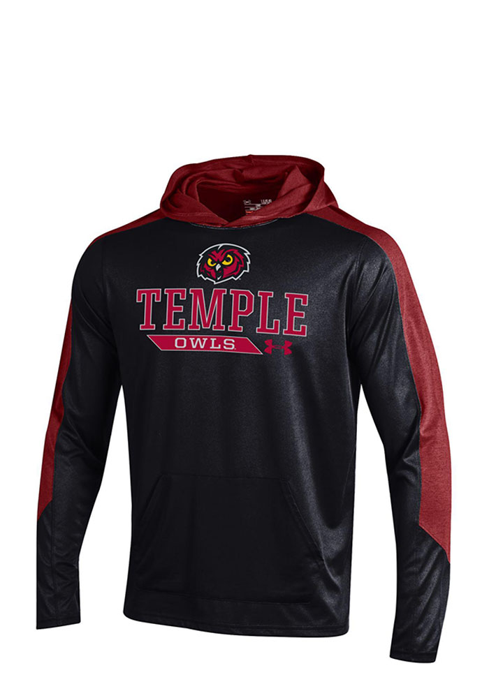 Under Armour Temple Owls Mens Black Foundation Long Sleeve Hoodie - Image 1