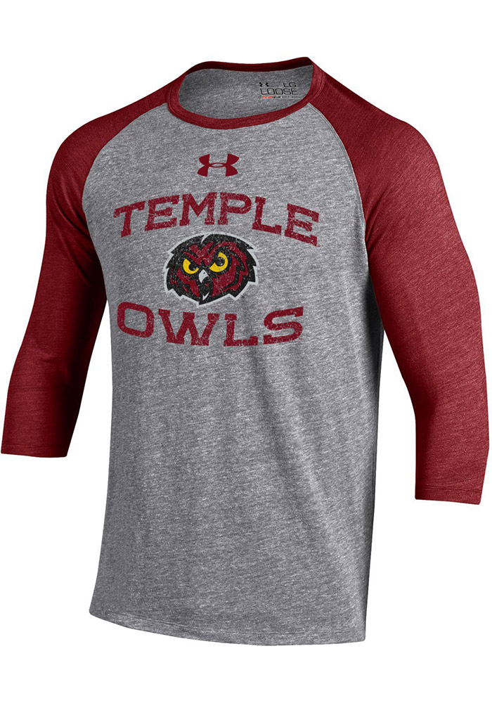 Under Armour Temple Owls Mens Grey Triblend Baseball SMU Long Sleeve Fashion T Shirt - Image 1