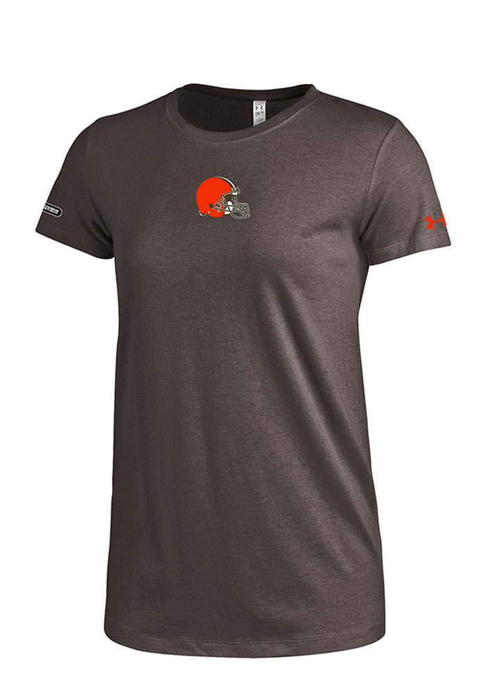 Under Armour Cleveland Browns Womens Brown Primary Logo Short Sleeve Crew T-Shirt - Image 1