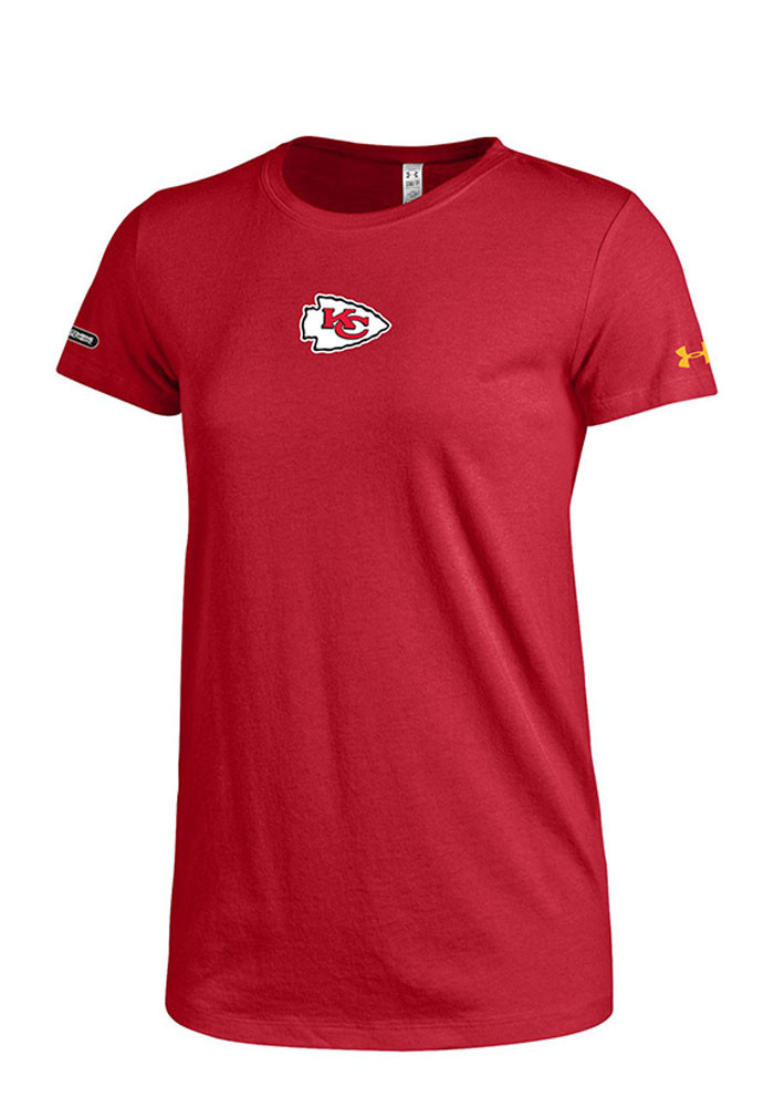 Under Armour Kansas City Chiefs Womens Red Primary Logo Short Sleeve Crew T-Shirt - Image 1