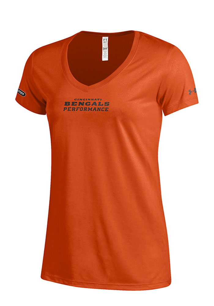 Under Armour Cincinnati Womens Wordmark Tech Orange Short Sleeve Performance Tee 55291086