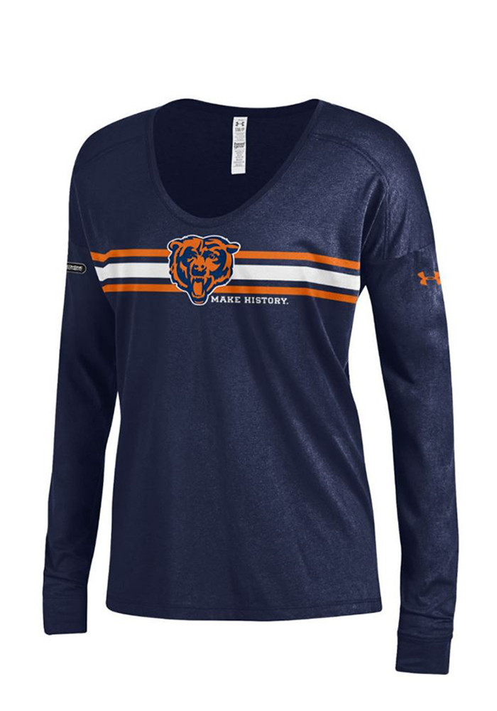 Under armour chicago bears womens navy blue striped logo for Navy blue striped long sleeve shirt