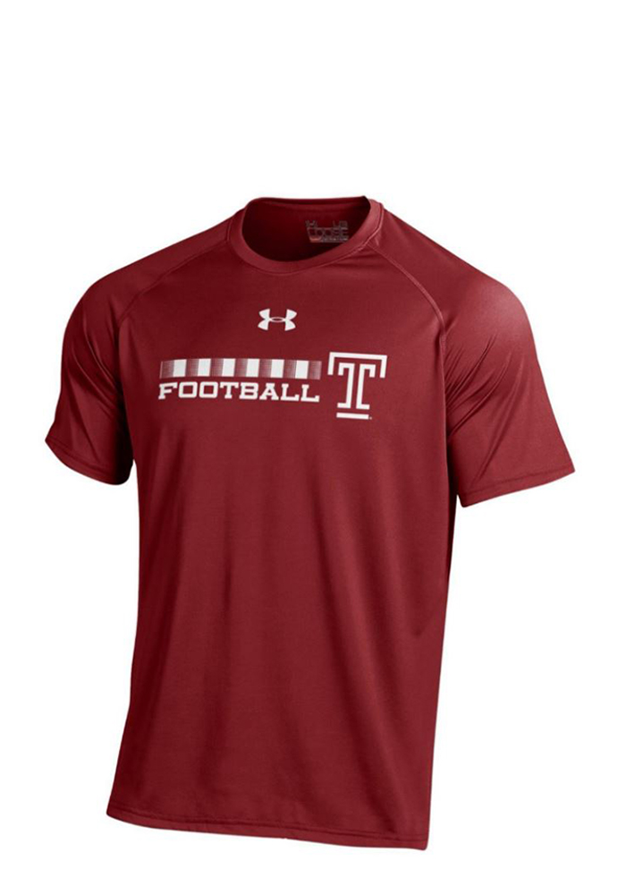 Under Armour Temple Owls Mens Red Tech Short Sleeve T Shirt, Red, 100% POLYESTER, Size S