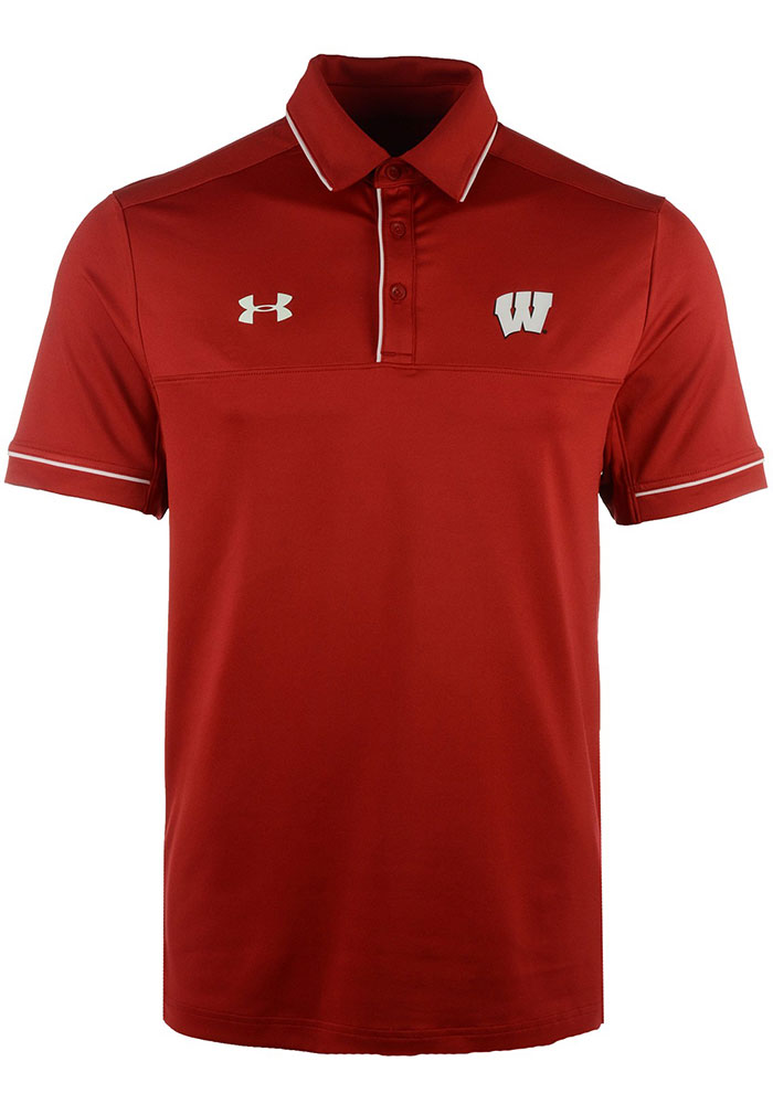 Under Armour Wisconsin Badgers Mens Red Podium Short Sleeve Polo - Image 2