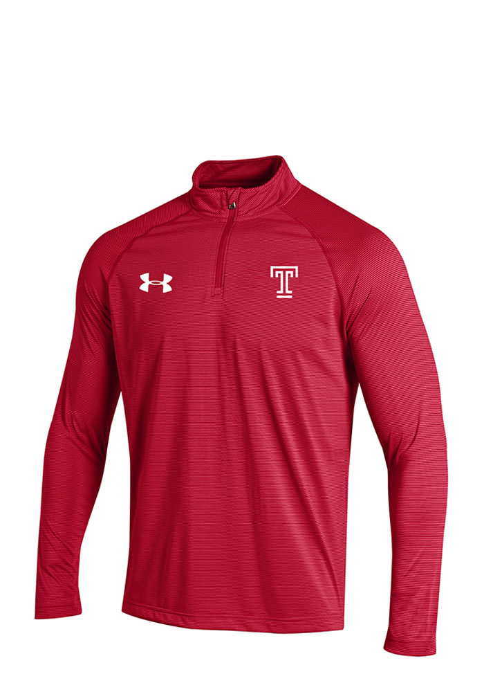 Under Armour Temple Owls Mens Red Stripe Knit Long Sleeve 1/4 Zip Pullover - Image 1