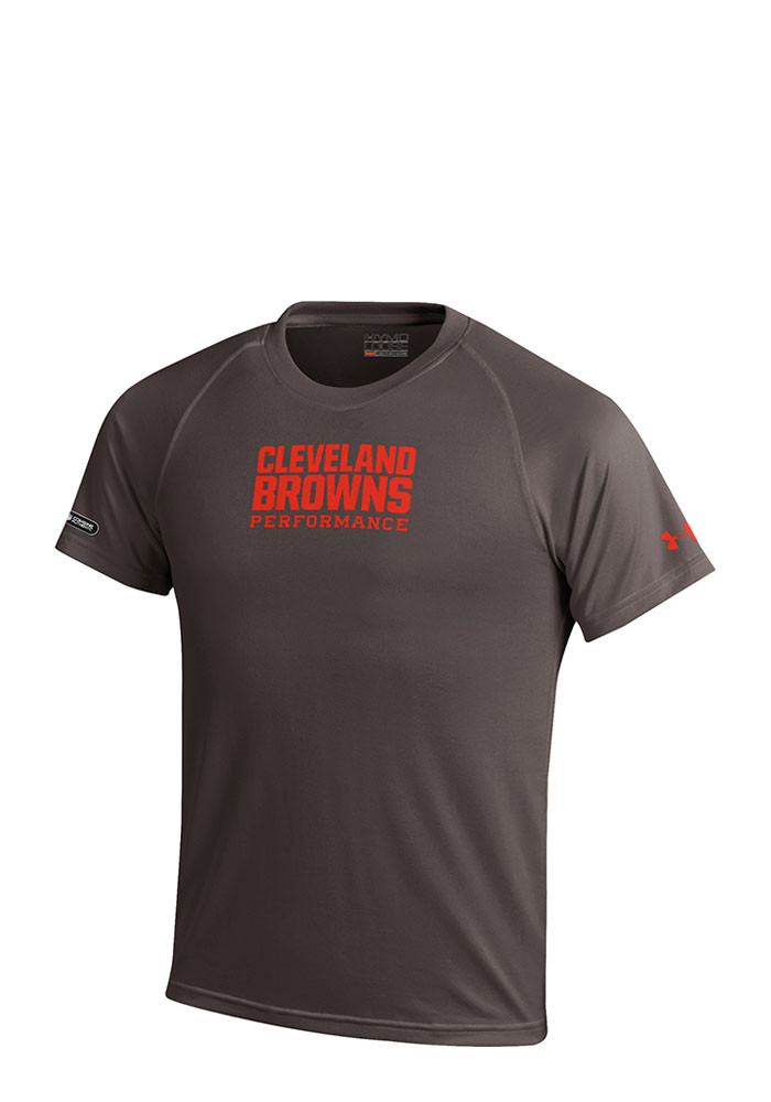 Under armour cleveland browns kids brown wordmark tech for Under armour brown t shirt