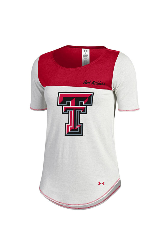 Under Armour Texas Tech Red Raiders Womens Ivory Shirzee Scoop T-Shirt - Image 1
