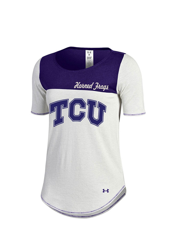 Under Armour TCU Horned Frogs Womens Ivory Shirzee Scoop T-Shirt - Image 1