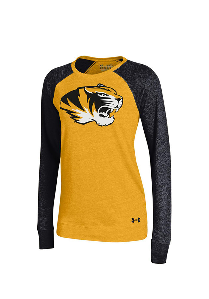 Under Armour Mizzou Tigers Juniors Gold Triblend Long Sleeve Scoop Neck - Image 1