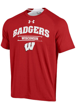 Under Armour Wisconsin Badgers Mens Red Charged SMU Tee
