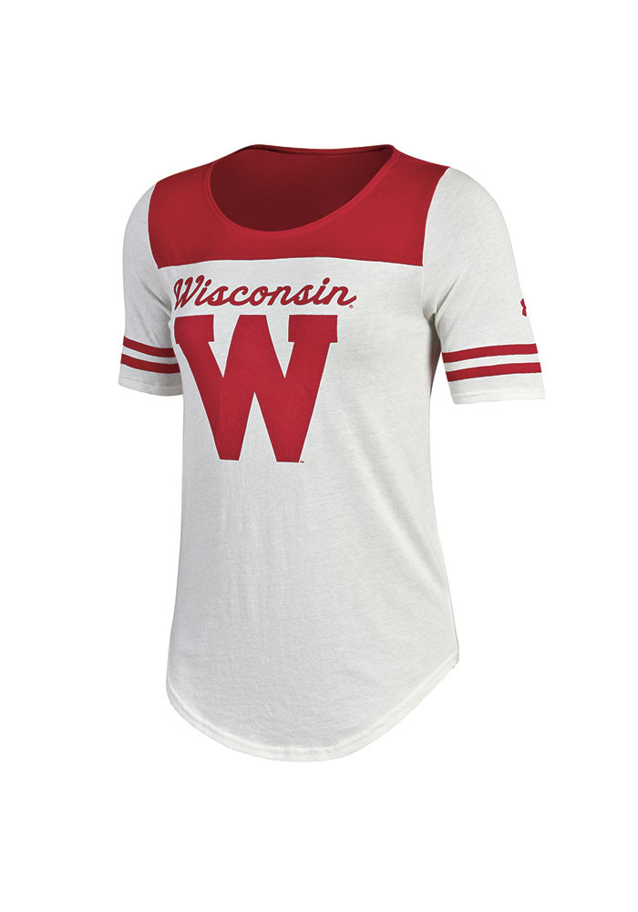 Under Armour Wisconsin Badgers Womens Ivory Iconic Scoop T-Shirt - Image 1