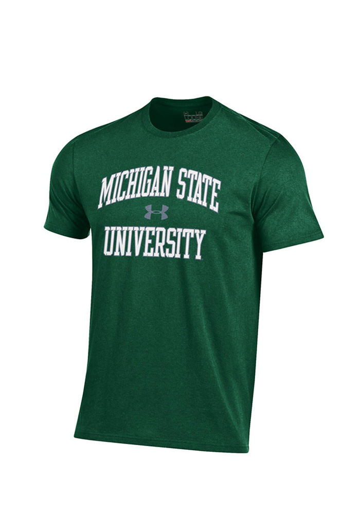 Under Armour Michigan State Spartans Mens Green screen print Short Sleeve T Shirt - Image 1