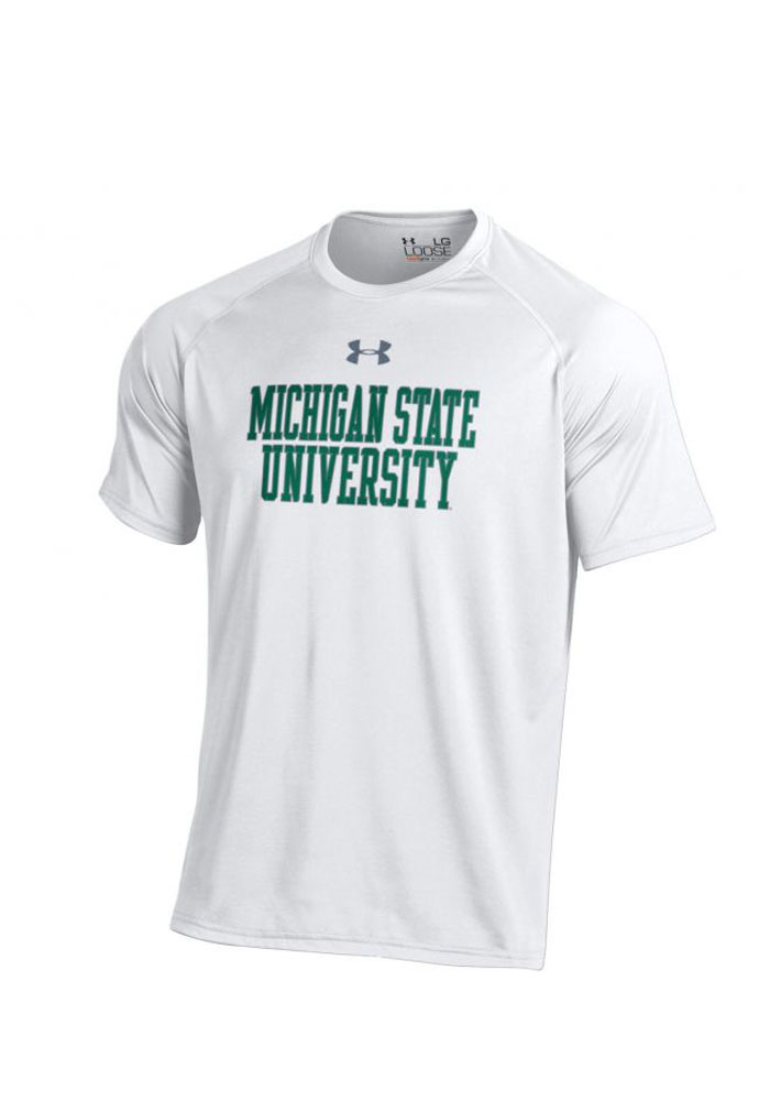 Under Armour MSU Mens White Tech Performance Tee 55291321