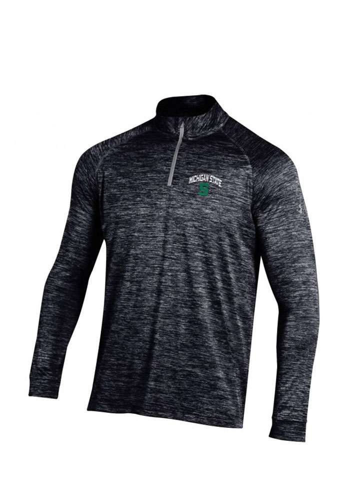 Under Armour Michigan State Spartans Mens Black Twist Tech Long Sleeve 1/4 Zip Pullover - Image 1