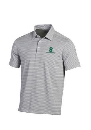 Under Armour Michigan State Spartans Mens Grey Kirkby Short Sleeve Polo Shirt