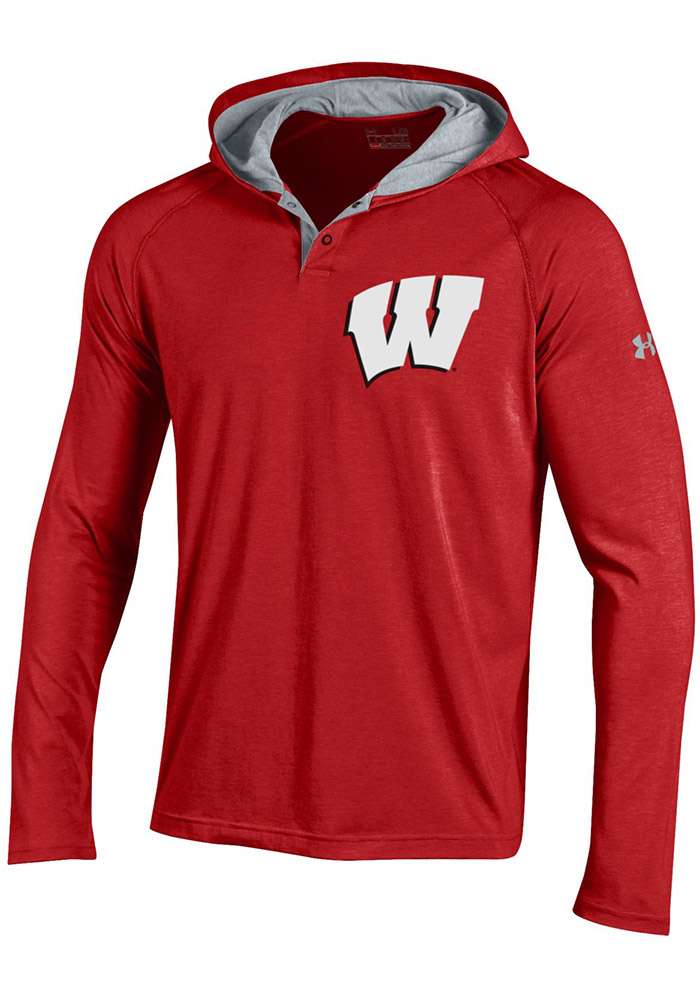 Under Armour Wisconsin Badgers Mens Red Charged Henley SMU Hood - Image 1
