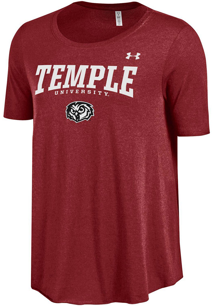 Under Armour Temple Owls Juniors Cardinal Trapeze Short Sleeve Scoop - Image 1