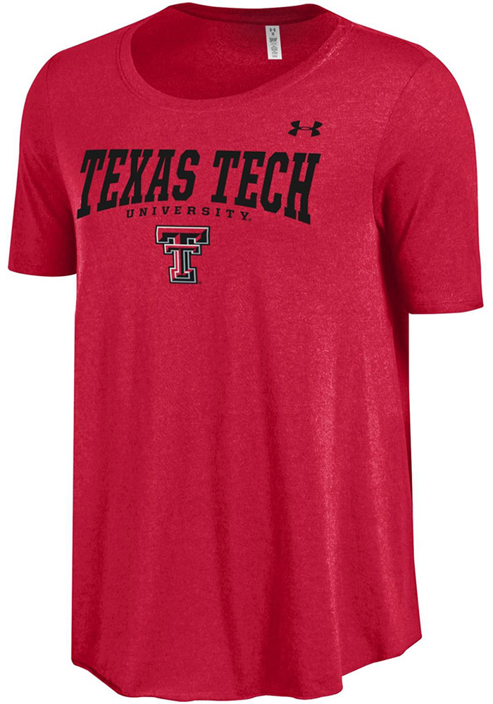 Under Armour Texas Tech Red Raiders Juniors Red Trapeze Short Sleeve Scoop, Red, 60% COTTON / 40% MODAL, Size L