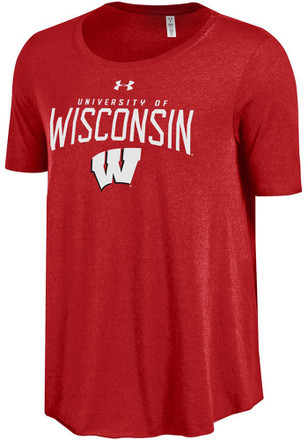 Under Armour Wisconsin Badgers Womens Red Trapeze Scoop