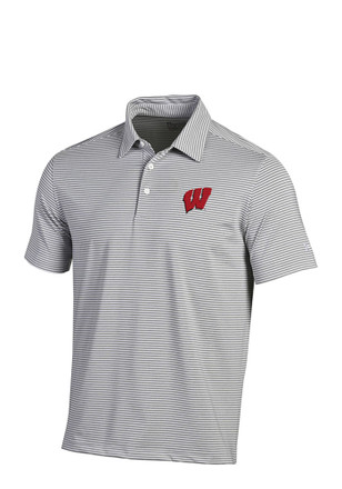 Under Armour Wisconsin Badgers Mens White Kirkby Short Sleeve Polo Shirt