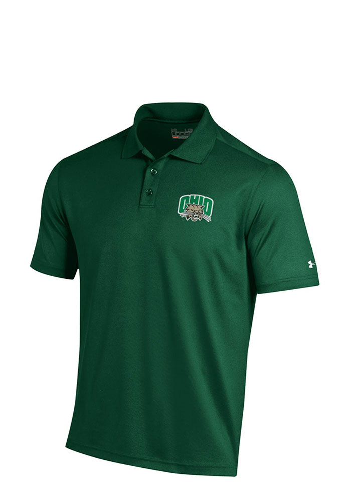Under Armour Ohio Bobcats Mens Green Performance Short Sleeve Polo, Green, 95% POLYESTER / 5% SPANDEX, Size M