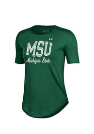 Under Armour Michigan State Spartans Womens Studio Green T-Shirt