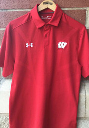 Wisconsin Badgers Under Armour Tour Polo Shirt - Red