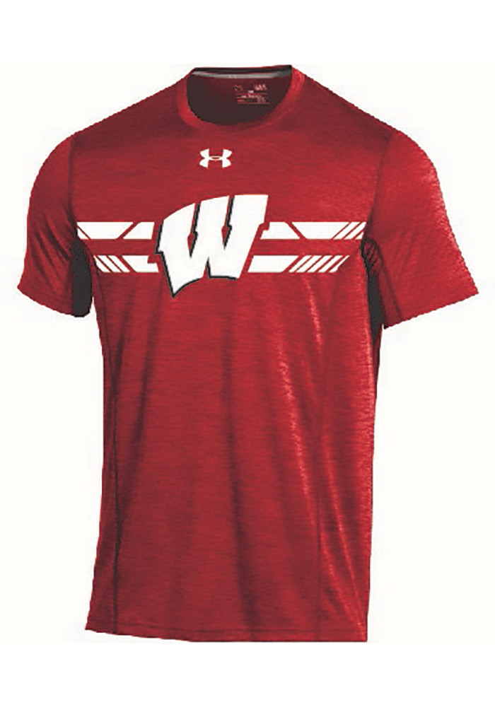 Under armour wisconsin badgers mens red training short for Mens wisconsin badger shirts