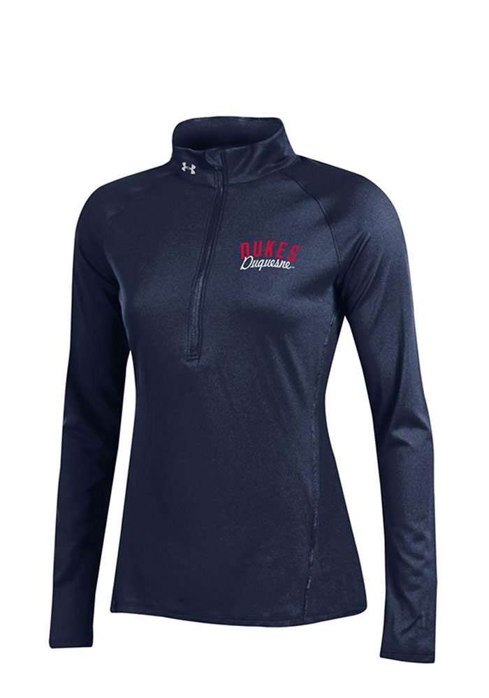 Under Armour Duquesne Womens Navy Blue Tech 1/4 Zip Pullover, Navy Blue, 100% POLYESTER, Size L