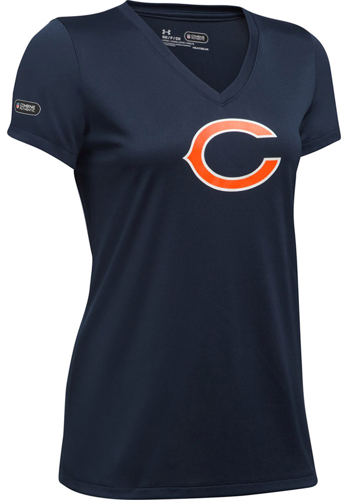 Under Armour Chicago Bears Womens Navy Blue Combine Authentic T-Shirt - Image 1