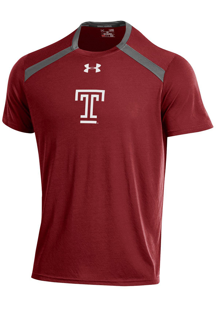 Under Armour Temple Owls Cardinal Threadborne Short Sleeve T Shirt - Image 1