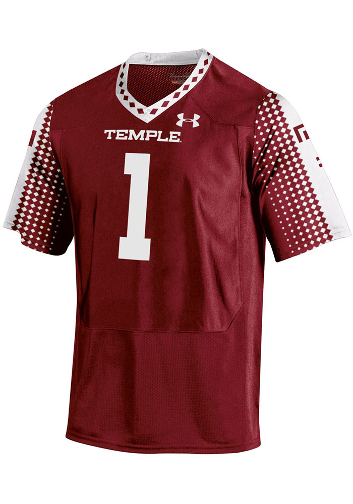 Under Armour Temple Owls Mens Crimson Sideline Football Jersey - Image 1