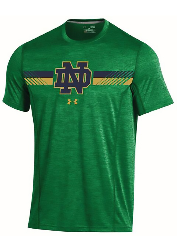 Under Armour Notre Dame Fighting Irish Mens Green Training Short Sleeve T Shirt, Green, 100% POLYESTER, Size L