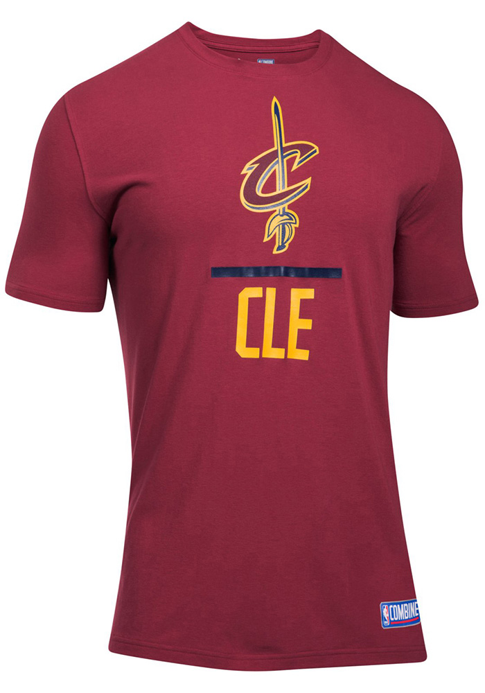 Under Armour Cleveland Cavaliers Mens Maroon Lockup Short Sleeve T Shirt - Image 1