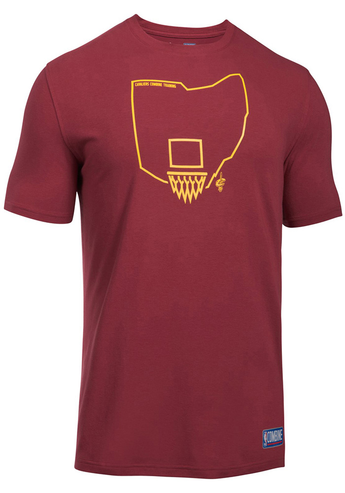 Under Armour Cleveland Cavaliers Maroon State Outline Short Sleeve T Shirt - Image 1