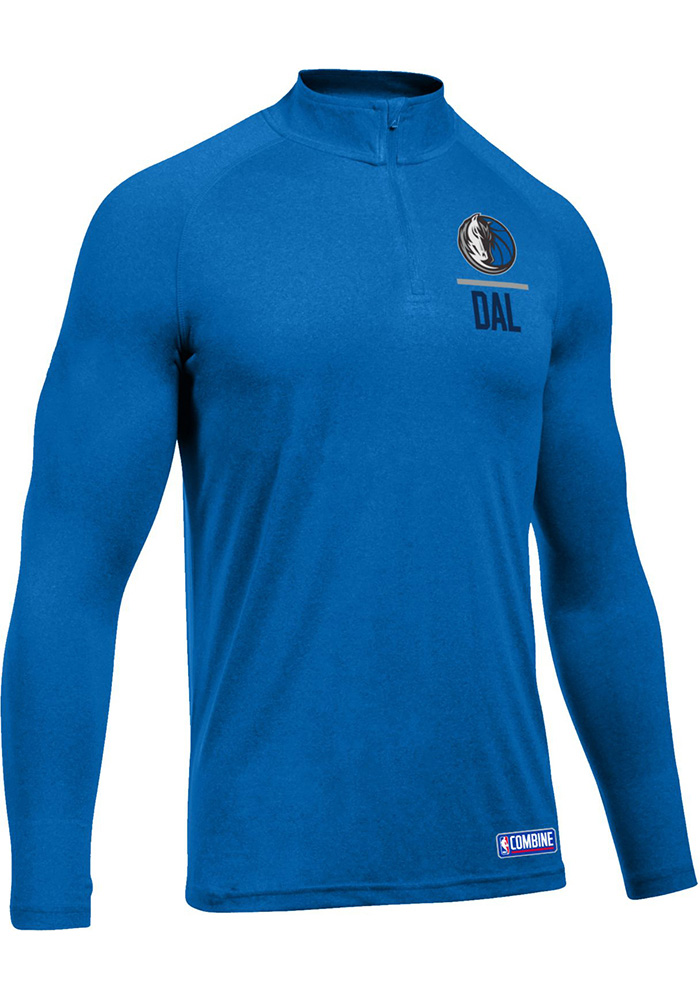 Under Armour Dallas Mavericks Mens Blue Authentic Tech Long Sleeve 1/4 Zip Pullover, Blue, 100% POLYESTER, Size L