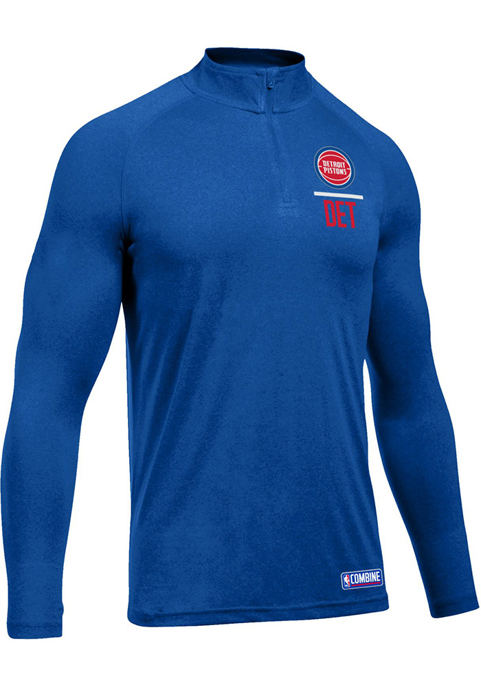 Under Armour Detroit Pistons Mens Blue Authentic Tech Long Sleeve 1/4 Zip Pullover - Image 1
