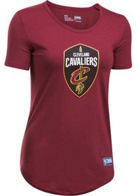 Under Armour Cleveland Cavaliers Womens Primary Logo Burgundy T-Shirt