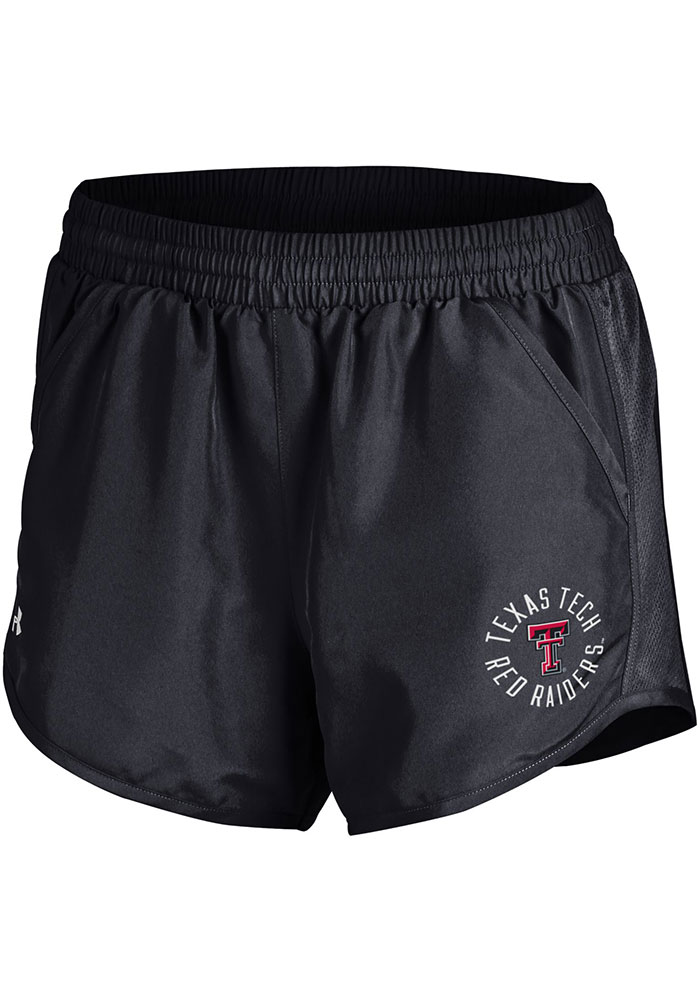 Under Armour Texas Tech Red Raiders Womens Black Fly By Shorts, Black, 100% POLYESTER, Size M