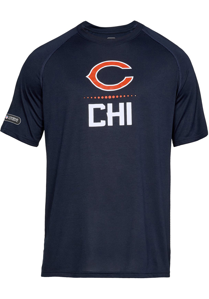 Under Armour Chicago Bears Navy Blue Lock Up Short Sleeve T Shirt - Image 1