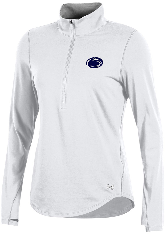 Under Armour Penn State Womens White Charged Cotton 1/4 Zip Pullover, White, 60% COTTON / 40% MODAL, Size L