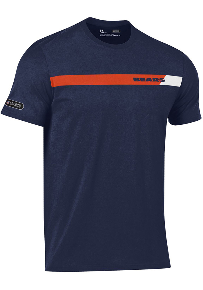 Under Armour Chicago Bears Navy Blue Combine Short Sleeve T Shirt - Image 1